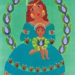 Virgen de la Corona Lila y Verde