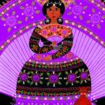 Virgen del Abanico Lila